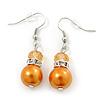 Orange Simulated Glass Pearl, Crystal Drop Earrings In Rhodium Plating - 40mm Length