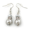Light Grey Glass Pearl, Crystal Drop Earrings In Rhodium Plating - 40mm Length