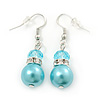 Light Blue Simulated Glass Pearl, Crystal Drop Earrings In Rhodium Plating - 40mm Length