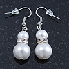 Cream Glass Pearl, Crystal Drop Earrings In Rhodium Plating - 40mm L