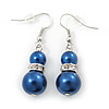 Navy Blue Glass Pearl, Crystal Drop Earrings In Rhodium Plating - 40mm Length