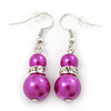Fuchsia Glass Pearl, Crystal Drop Earrings In Rhodium Plating - 40mm Length