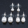 Set Of 3 White Simulated Glass Pearl Stud Earrings (10mm, 8mm, 6mm) In Silver Tone