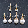 Set Of 3 White Simulated Glass Pearl Stud Earrings (10mm, 8mm, 6mm) In Gold Tone