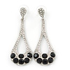 Bridal, Wedding, Prom Clear, Black Austrian Crystal Teardrop Earrings In Rhodium Plating - 65mm Length