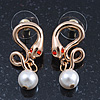Sleek Simulated Pearl 'Snake With Red Eyes' Stud Earrings In Gold Plating - 30mm Length