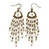 Vintage Inspired Freshwater Pearl Chandelier Earrings In Bronze Tone Metal - 80mm L