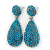 Bridal, Prom, Wedding Pave Teal Blue Austrian Crystal Teardrop Earrings In Rhodium Plating - 48mm Length