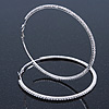 Oversized Clear Crystal Hoop Earrings In Rhodium Plating - 9cm Diameter