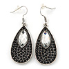 Vintage Inspired Black, Clear Crystal Teardrop Earrings In Antique Silver Tone - 55mm Length