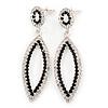 Black & Clear Crystal Open Oval Drop Earrings In Silver Tone - 60mm Length