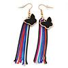 Black Enamel Butterfly & Multicoloured Chain Dangle Earrings In Gold Plating - 85mm Length