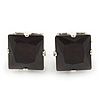 Classic Black Crystal Square Cut Stud Earrings In Silver Plating - 8mm Diameter