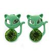 Teen's Light Green Crystal Kitty Stud Earrings In Silver Tone Metal - 12mm Length