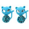 Teen's Light Blue Crystal Kitty Stud Earrings In Silver Tone Metal - 12mm Length