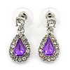 Small Amethyst, Clear Crystal Teardrop Earrings In Rhodium Plating - 25mm Length