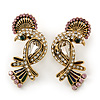 Exotic Multicoloured Crystal Bird Stud Earrings In Antique Gold Plating - 35mm Length