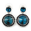 Teal, Dark Blue Crystal Round Drop Earrings In Rhodium Plating - 33mm Length