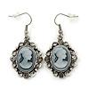 Vintage Inspired Grey Crystal Cameo Drop Earrings In Silver Tone Metal - 45mm Length