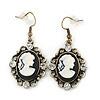 Vintage Inspired Clear Crystal Cameo Drop Earrings In Antique Gold Metal - 45mm Length