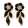 Black Enamel, Clear Crystal Flower Drop Earrings In Gold Plating - 40mm Length