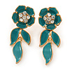 Teal Green Enamel, Clear Crystal Flower Drop Earrings In Gold Plating - 40mm Length