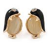 Black Enamel Cat Eye Penguin Stud Earrings In Gold Plating - 20mm Length