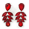 Statement Burgundy Red Glass Crystal Leaf Drop Earrings In Rhodium Plating - 53mm L