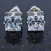Cz Clear Square Stud Earrings In Silver Tone - 7mm