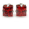 Cz Red Square Stud Earrings In Silver Tone - 7mm