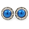 Blue Acrylic Bead, Diamante Button Stud Earrings In Silver Tone - 15mm Diameter