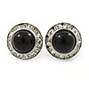 Black Acrylic Bead, Diamante Button Stud Earrings In Silver Tone - 15mm Diameter