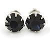 Round Cobalt Blue Jewelled Stud Earrings In Silver Tone - 8mm