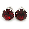 Round Dark Red Jewelled Stud Earrings In Silver Tone - 8mm