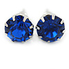 Round Sapphire Blue Jewelled Stud Earrings In Silver Tone - 8mm