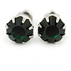 Round Emerald Green Jewelled Stud Earrings In Silver Tone - 8mm