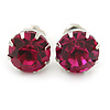 Round Fuchsia Jewelled Stud Earrings In Silver Tone - 8mm