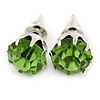 Round Light Green Jewelled Stud Earrings In Silver Tone - 8mm