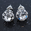 Round Clear Jewelled Stud Earrings In Silver Tone - 8mm