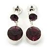 Small Deep Purple Crystal Drop Earrings In Silver Tone - 20mm L