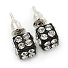Black Enamel, Clear Crystal Dice Earrings In Silver Tone Metal - 7mm Diameter