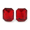 Red Glass Square Stud Earrings In Silver Tone - 10mm Length