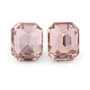 Pink Glass Square Stud Earrings In Silver Tone - 10mm Length