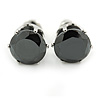 Black CZ Round Cut Stud Earrings In Rhodium Plating - 8mm