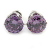 Amethyst CZ Round Cut Stud Earrings In Rhodium Plating - 8mm