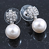 Bridal/ Prom/ Wedding Diamante 10mm White, Faux Pearl Stud Earrings In Rhodium Plating - 20mm L