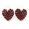 Burgundy Red Crystal Heart Stud Earrings In Silver Tone - 12mm L