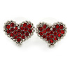 Red Crystal Heart Stud Earrings In Silver Tone - 15mm W