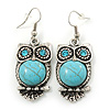 Vintage Inspired Turquoise Stone Owl Drop Earrings In Antique Silver Tone - 50mm L