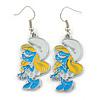 White/ Blue/ Yellow Enamel Funky Smurfette Cartoon Drop Earrings In Silver Tone - 48mm L